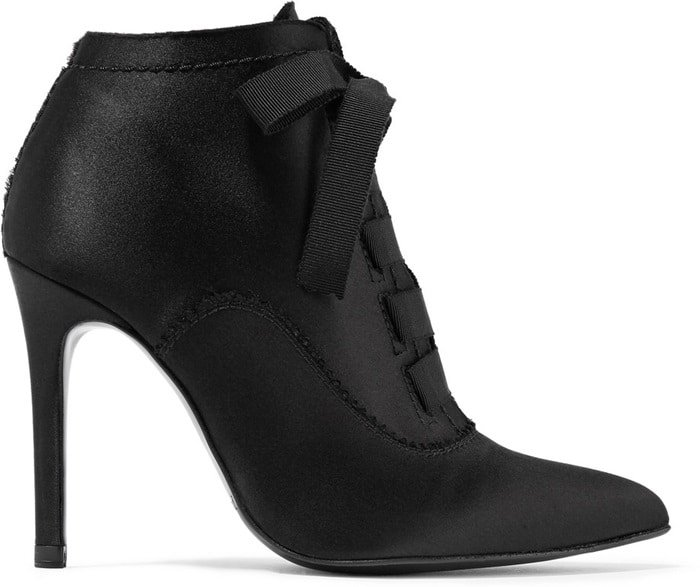 These lustrous satin 'Ana' boots are set on a pin-thin heel and have grosgrain ribbon laces