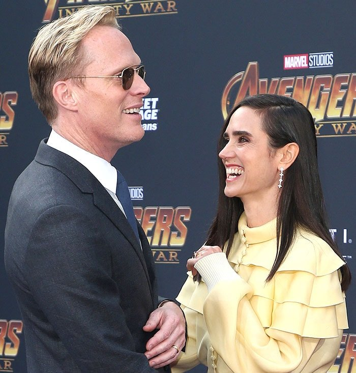 Paul Bettany and Jennifer Connelly sharing a laugh.