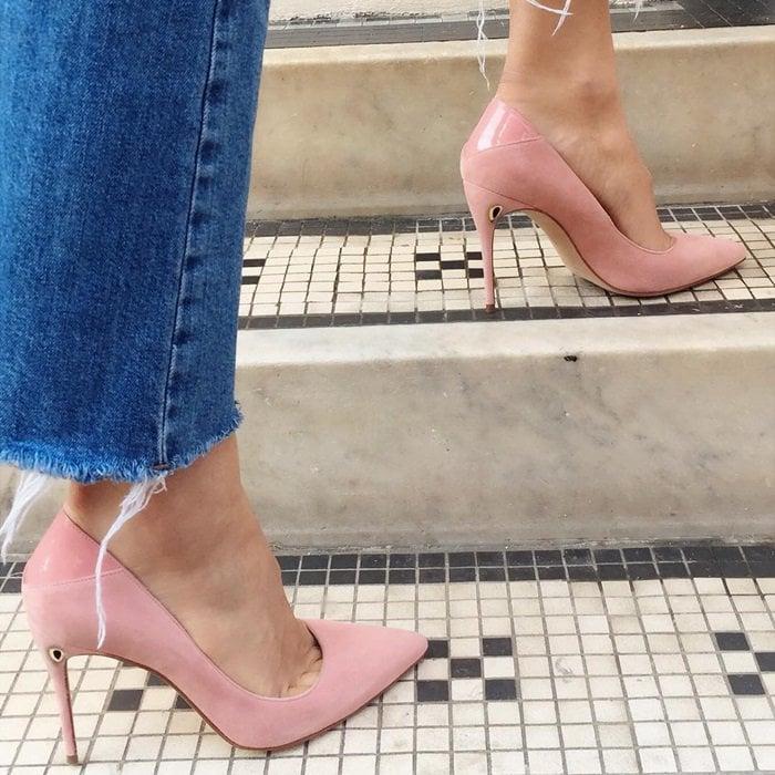 Pink 'Lorenzo' patent leather pumps