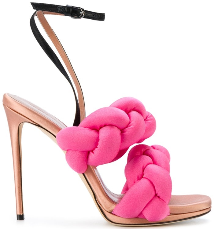 Pink leather pleated strappy sandals