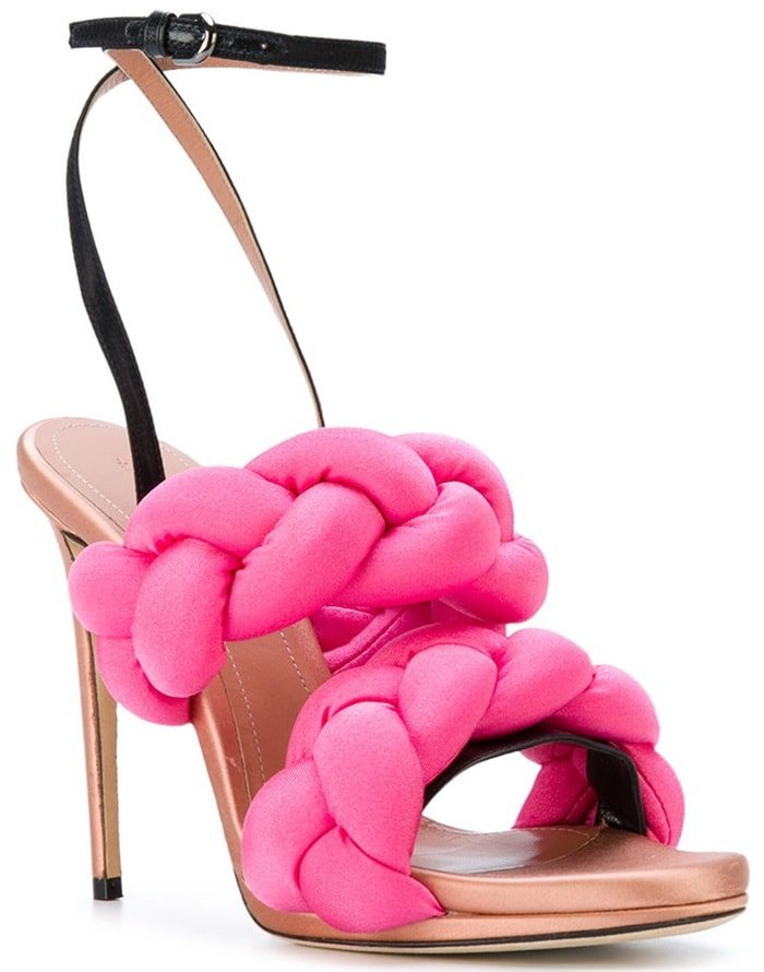 Pink leather pleated strappy sandals from Marco De Vincenzo