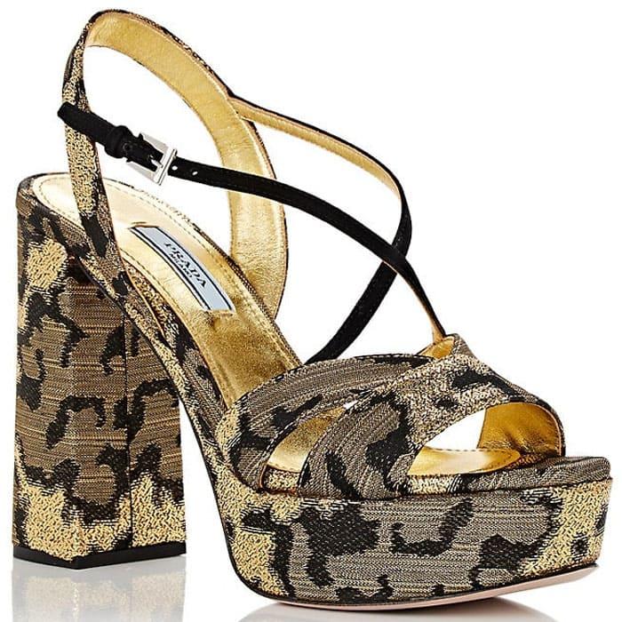 Prada Brocade Crisscross-Strap Platform Sandals