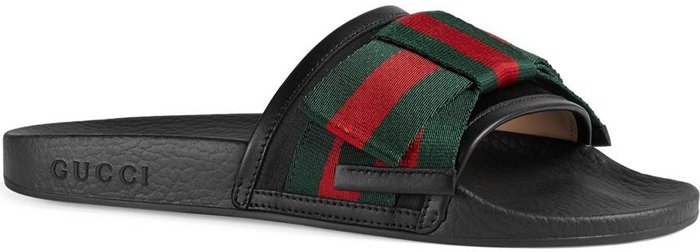 Gucci's 'Pursuit' slide sandals with silk bows in the brand's iconic green and red stripes