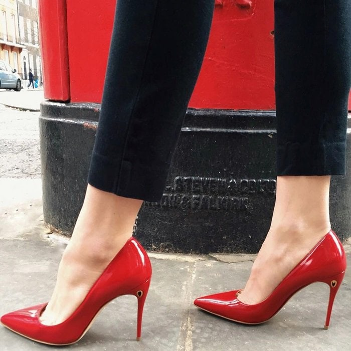 Red 'Lorenzo' patent leather pumps
