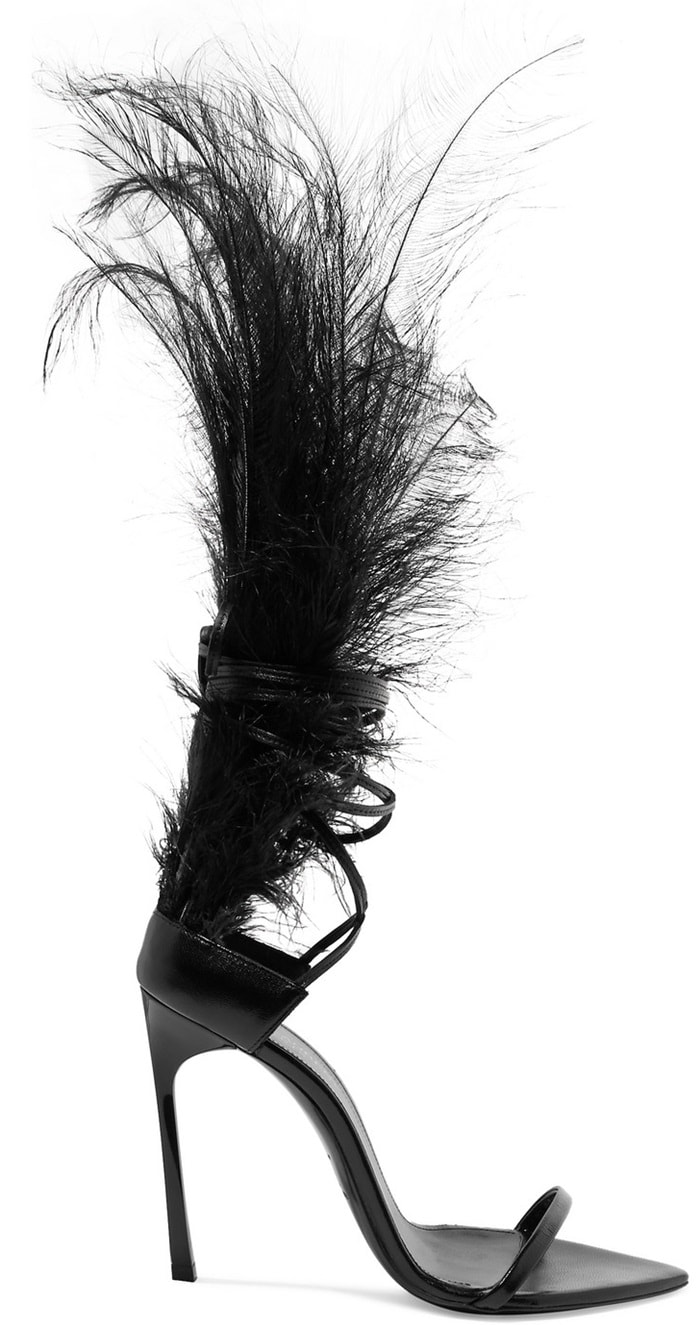 Talitha Feather-Trimmed Glossed-Leather Sandals by Saint Laurent