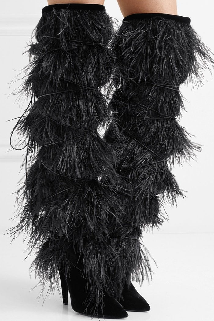 'Yeti' feather-trimmed suede over-the-knee boots