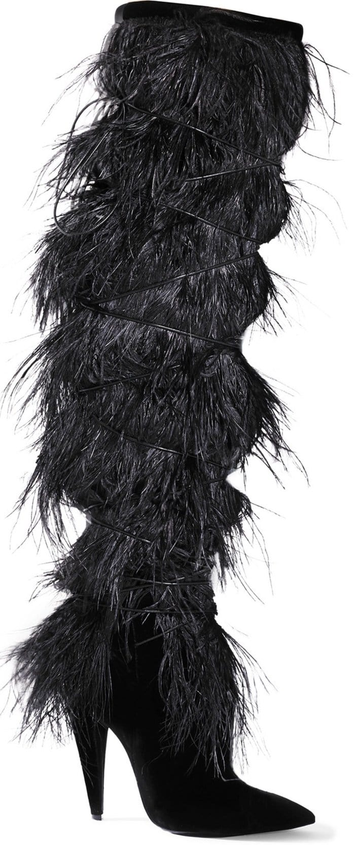 Become theAbominable Snowman in Saint Laurent's 'Yeti' feather-trimmed suede over-the-knee boots