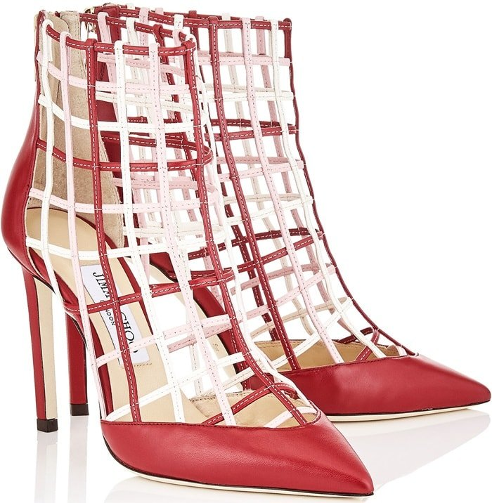 Red Nappa Leather 'Sheldon' Booties with Rosewater and Chalk Caged Detailing