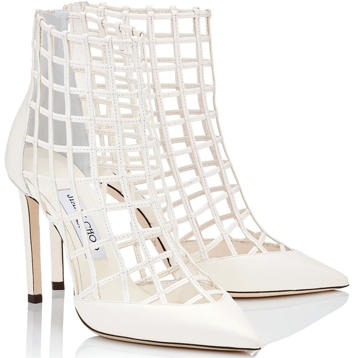 White leather 'Sheldon' 100 cutout leather ankle boots