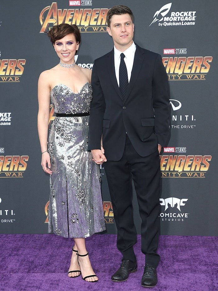 "Couple Scarlett Johansson and Colin Jost at their first red carpet appearance together at the ""Avengers: Infinity War"" premiere in Los Angeles, California, on April 23, 2018."