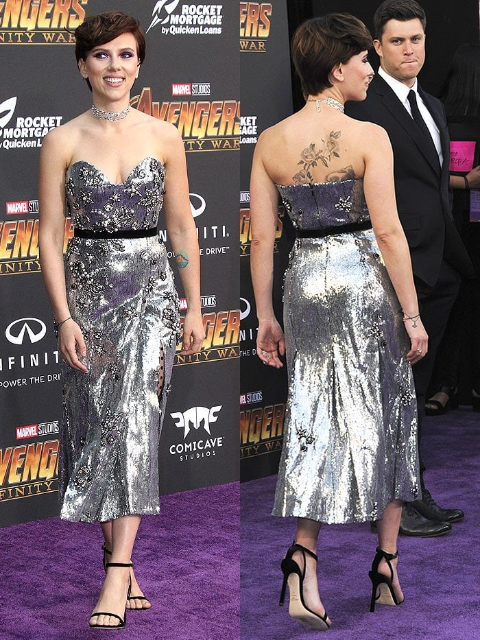 "Scarlett Johansson showing her rose and lamb back tattoo at the ""Avengers: Infinity War"" premiere."