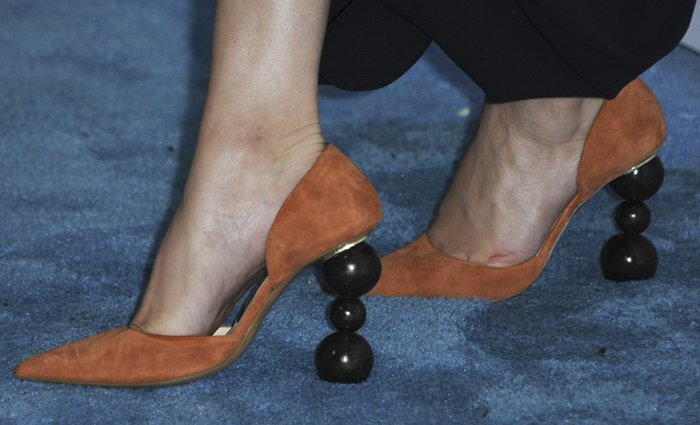 Selena Gomez rockingsculptural wooden marble heels from Simon Porte Jacquemus' Fall '18 collection