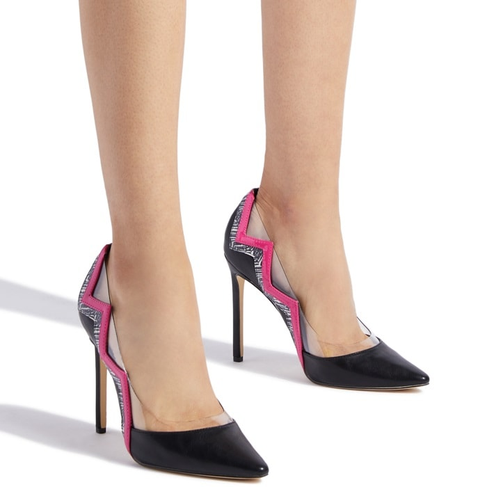 Sexy faux-leather stiletto pump with cutout design black