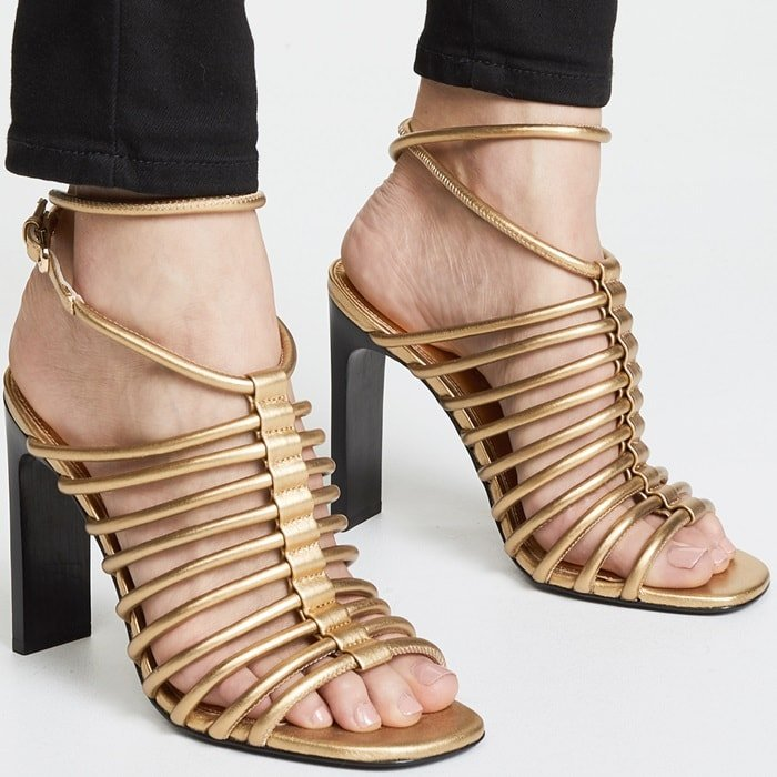 Halo style ankle strap with adjustable buckle closure