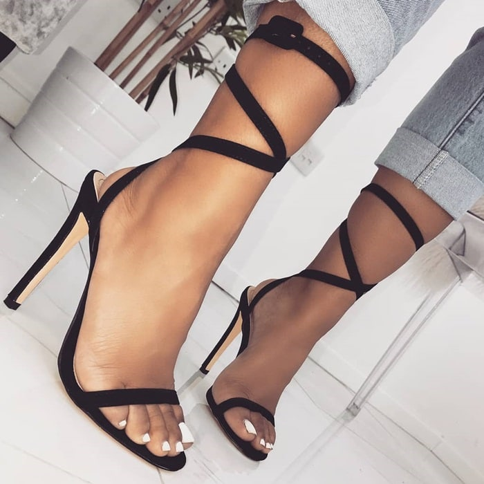 Black Ankle Buckle Suede Lace Up Stiletto Heels