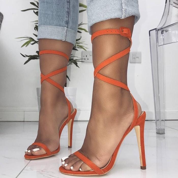 Orange Ankle Buckle Suede Lace Up Stiletto Heels