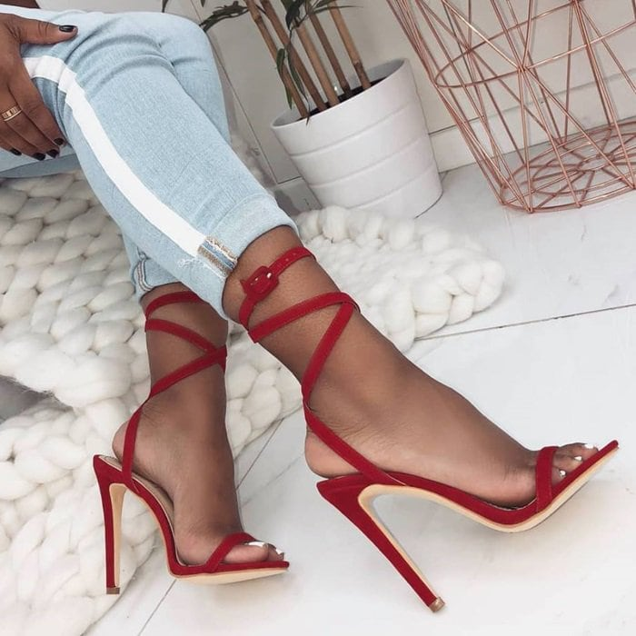 Red Ankle Buckle 'Talia' Suede Lace Up Stiletto Heels