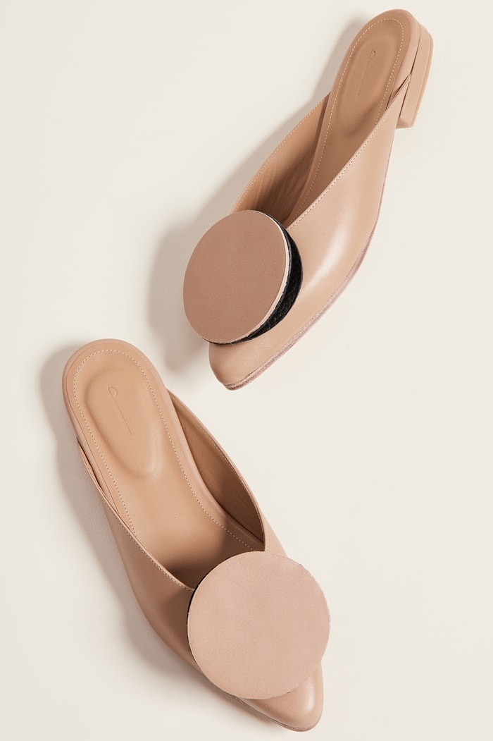 These mules from designer Jessica Taft Langdon look like they could be inspired by pancakes