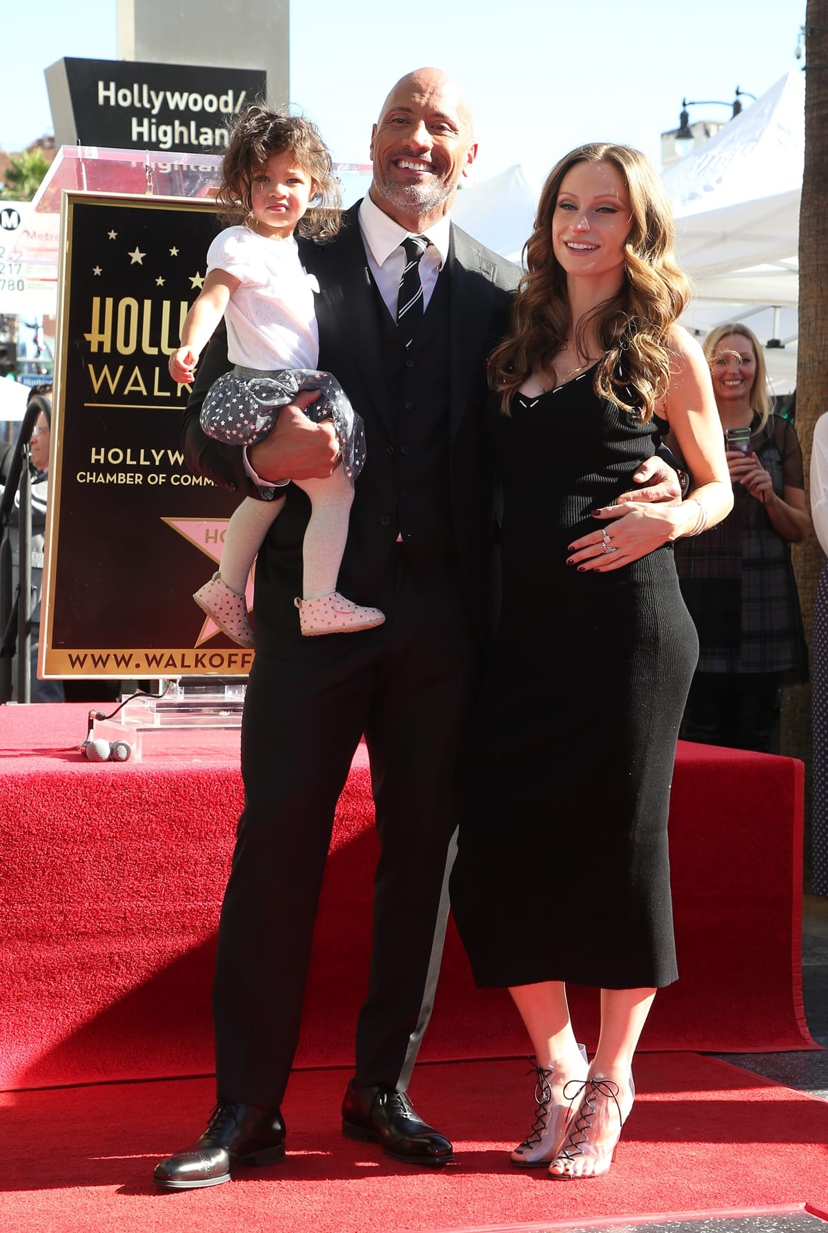 """Dwayne """"The Rock"""" Johnson celebrates his star on the Hollywood Walk of Fame with his pregnant girlfriend Lauren Hashian and their 1-year-old daughter Jasmine"""