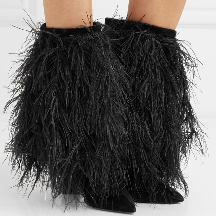 Yeti feather-trimmed velvet boots