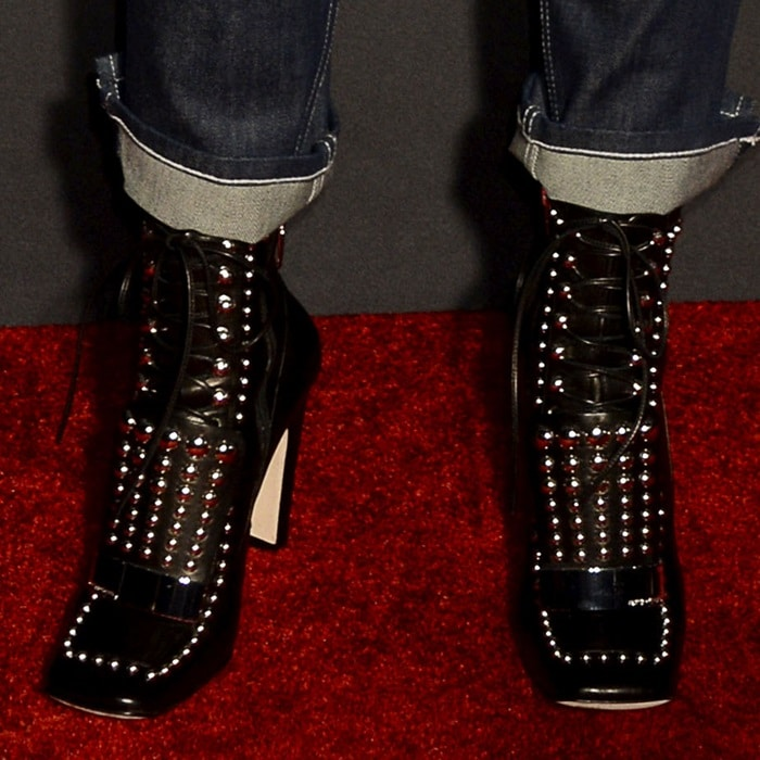 Zosia Mamet's studded SR1 ankle boots from Sergio Rossi
