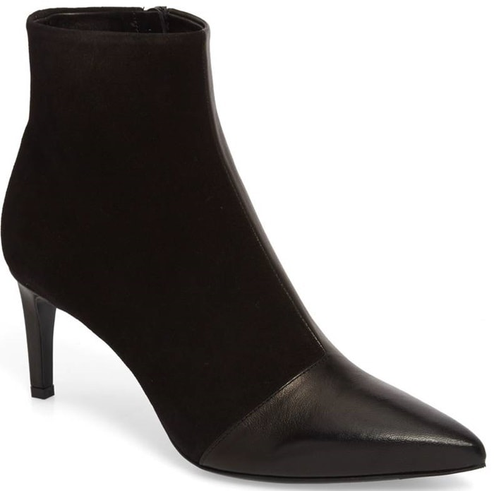 A slim, clean-lined silhouette featuring a pointy toe and setback stiletto makes this bootie perfect for adding a sharp finishing touch to your look