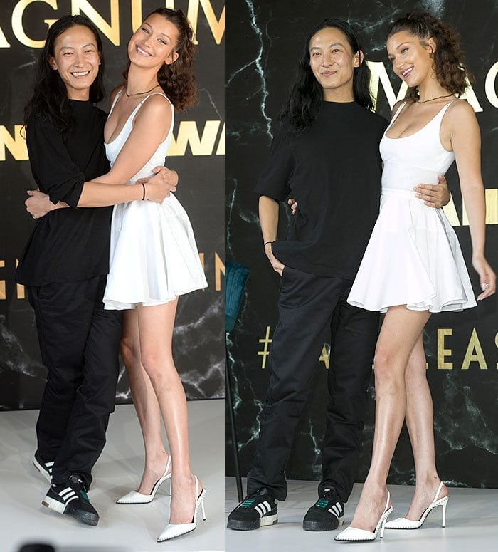 Bella Hadid and Alexander Wang at the Magnum photo call in Cannes.