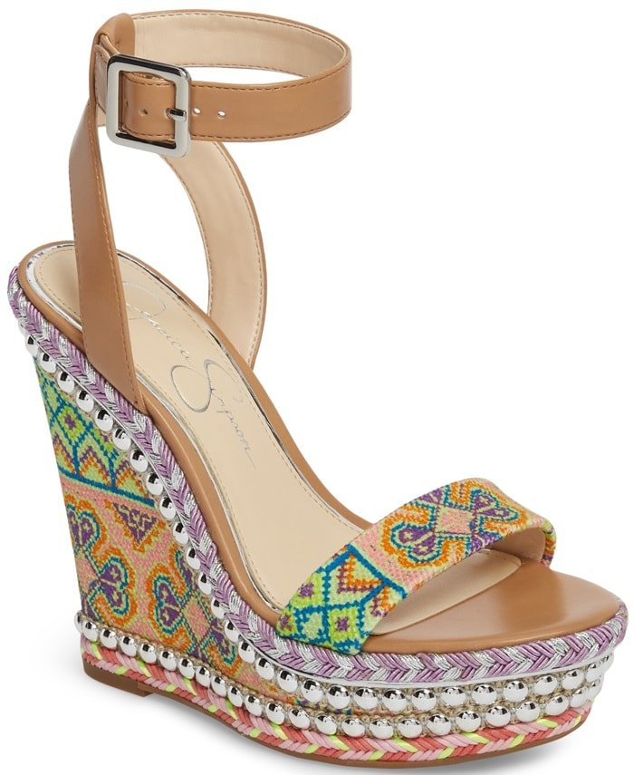 Vibrant patterns and shining studs bring irresistible color and metallic flash to these bohemian Alinda platform wedges