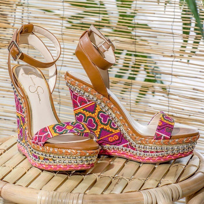 35a7da5a5902 Irresistible Woven Summer Wedges Clad in Sunny Cross-Stitching