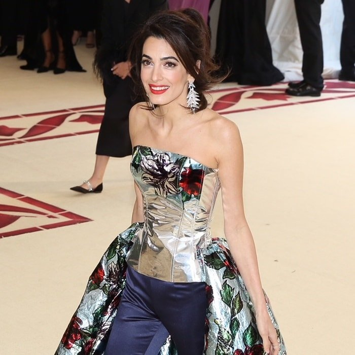 Amal Clooney wearing Richard Quinn at the 2018 Met Gala