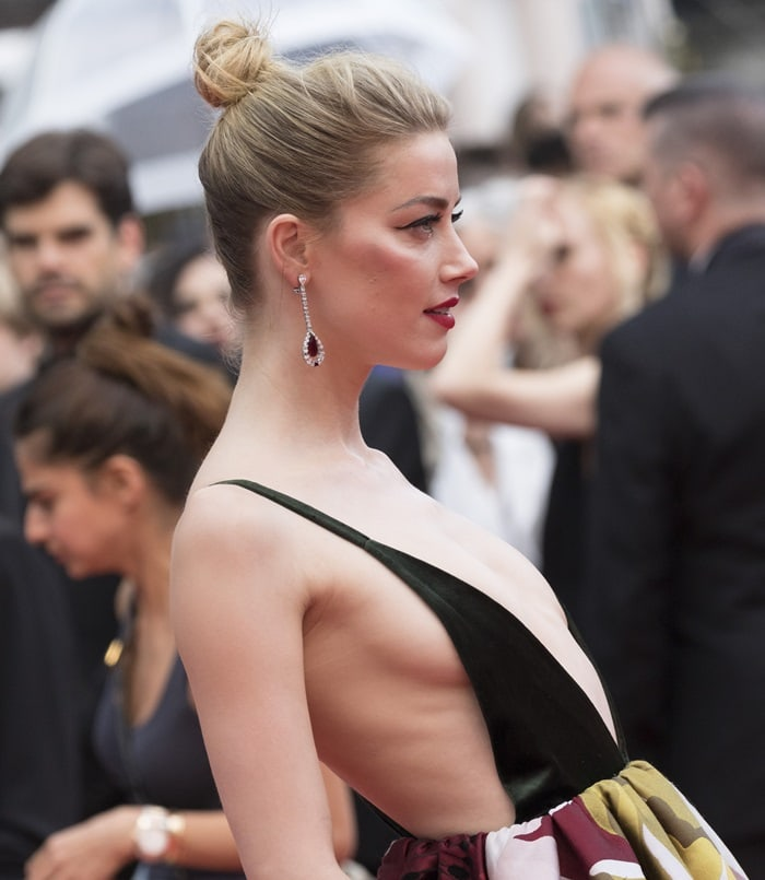 Amber Heard showing sideboob atthe screening of 'Sorry Angel'