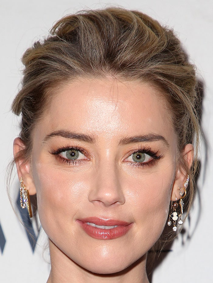 Amber Heard's gold-and-diamond earrings