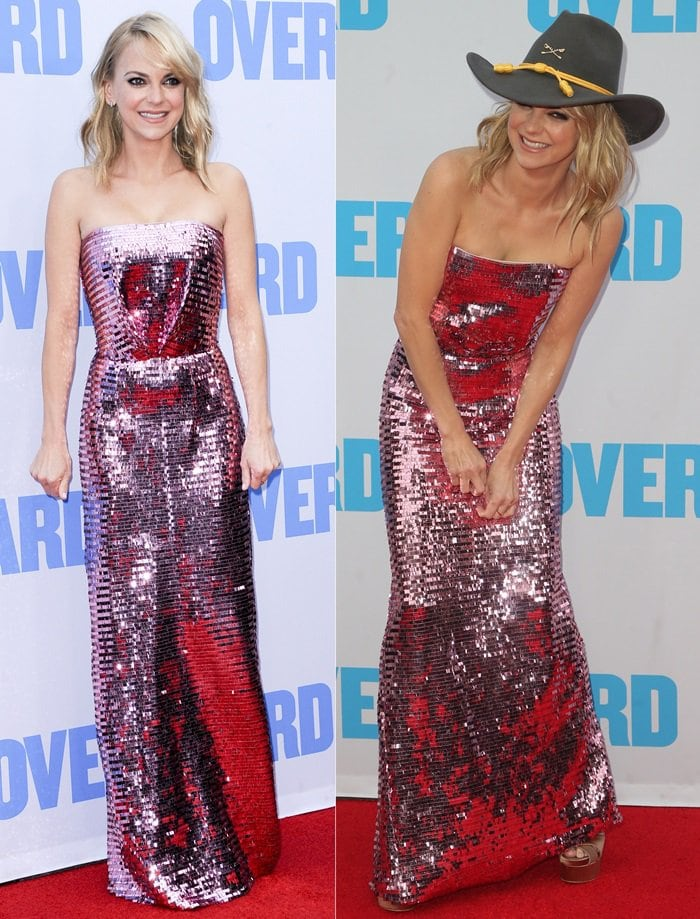Anna Faris in a custom strapless rose-gold dress by Jeffrey Dodd