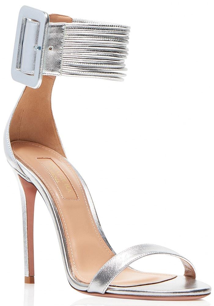 Aquazzura Casablanca sandals silver nappa laminata