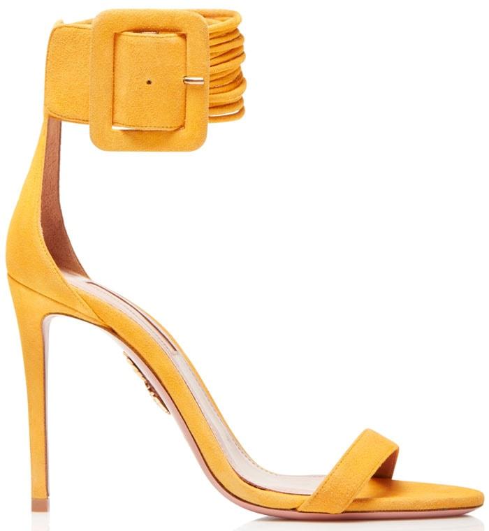 Aquazzura Casablanca sandals sunshine yellow suede