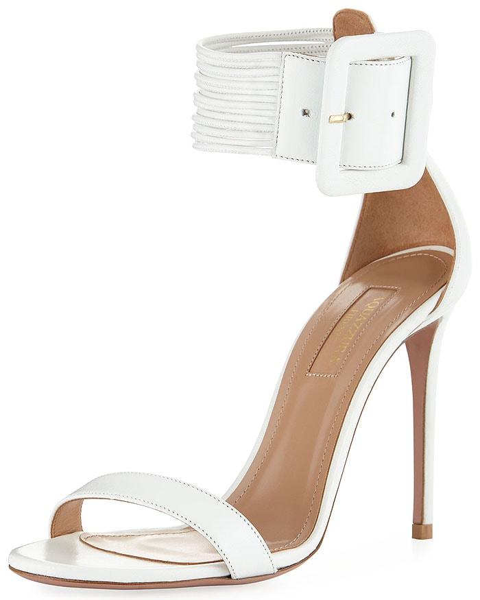 Aquazzura 'Casablanca' Square-Buckled Ankle-Cuff Sandals in White