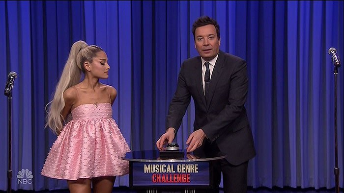 """Ariana Grande at her guest appearance on NBC's 'The Tonight Show Starring Jimmy Fallon"""" in New York City on May 1, 2018"""