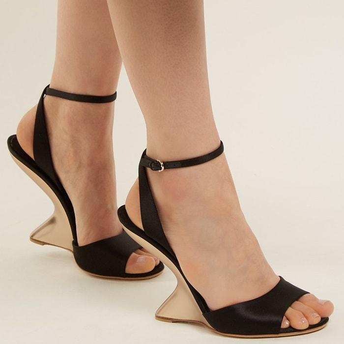 Arsina sculptural-heel satin wedge sandals