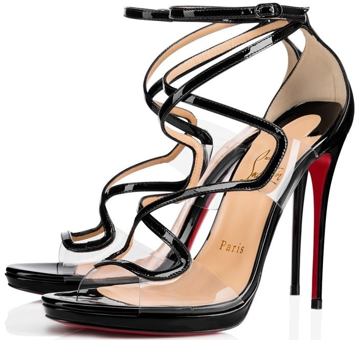 These sandals are set on a spindle thin stiletto heel licked with the Parisian label's iconic red lacquered sole