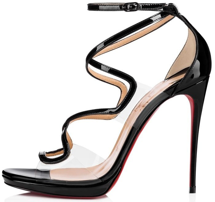 The upper is comprised of transparent PVC welded to glossy patent leather straps which ripple down the foot bed