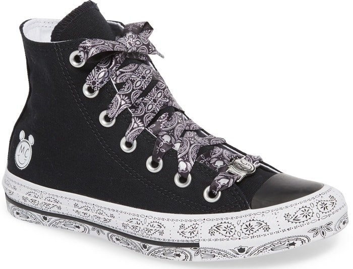 High-top sneaker that's bandana-patterned from laces to sole