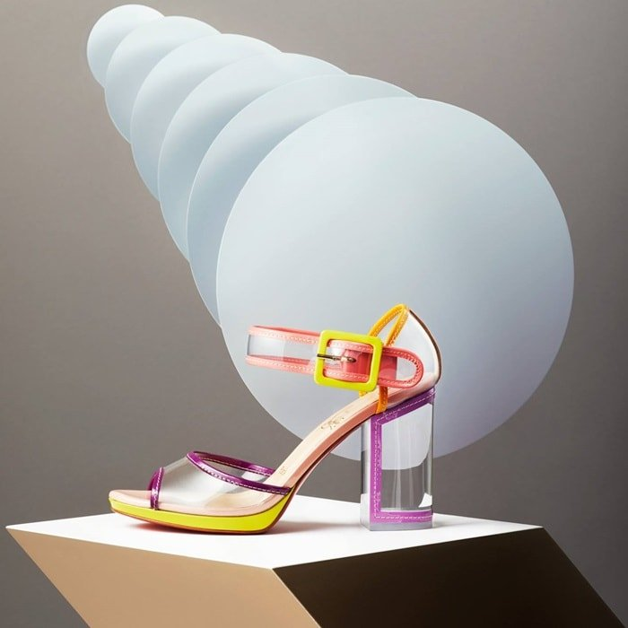 Multi Barbaclara Specchio Leather & PVC Platform Sandals