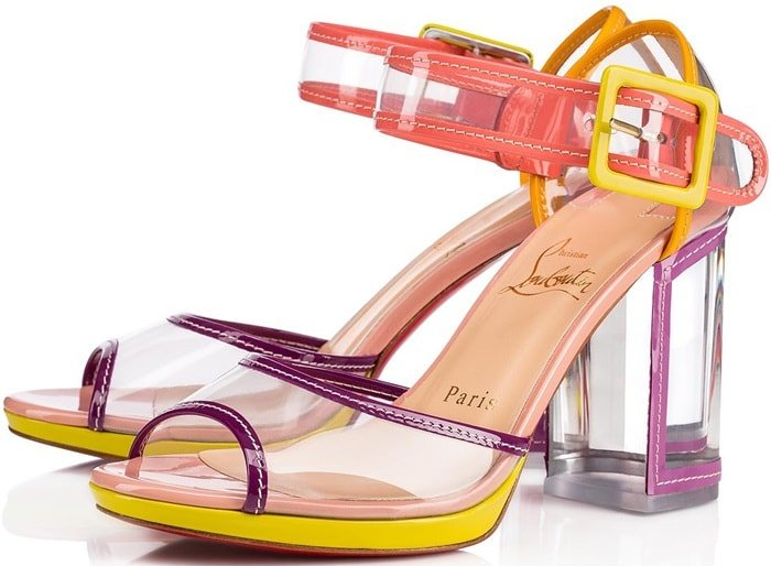 Multi Barbaclara Specchio Leather & PVC Platform Sandals