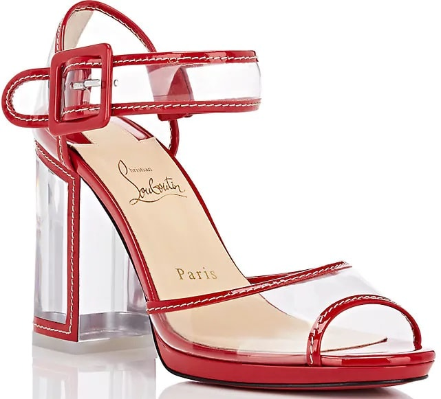 Red 'Barbaclara' Specchio Leather & PVC Platform Sandals