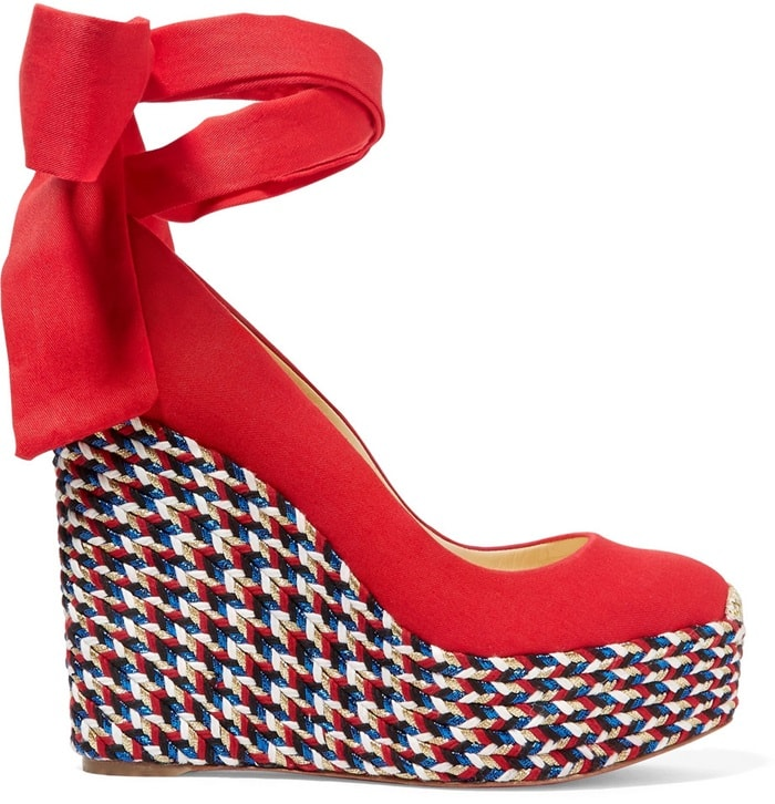 Barbariazeppa 120 red canvas wedge espadrilles