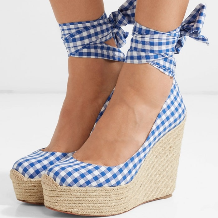 Barbariazeppa 120 gingham canvas wedge espadrilles