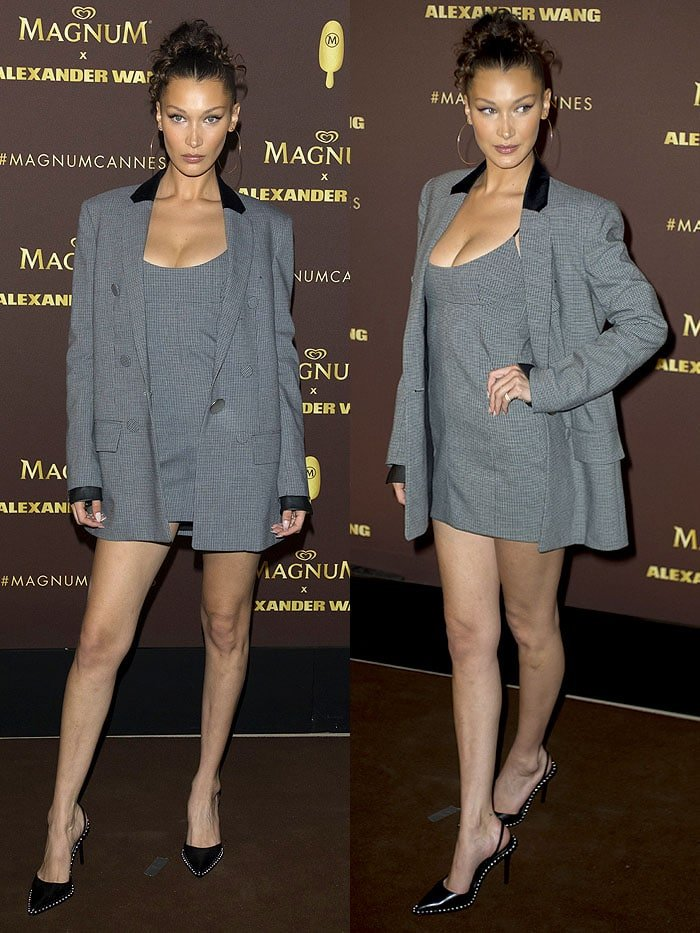 Bella Hadid in a gray check blazer and dress and black Alexander Wang 'Rina' pumps.
