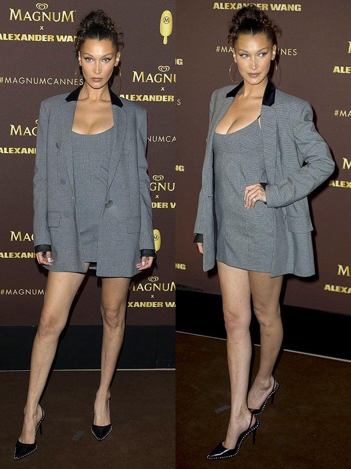 Bella Hadid in a gray check blazer and dress and black Alexander Wang 'Rina' pumps.