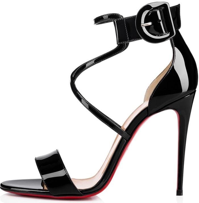 Black Patent 'Choca' Red Sole Sandals
