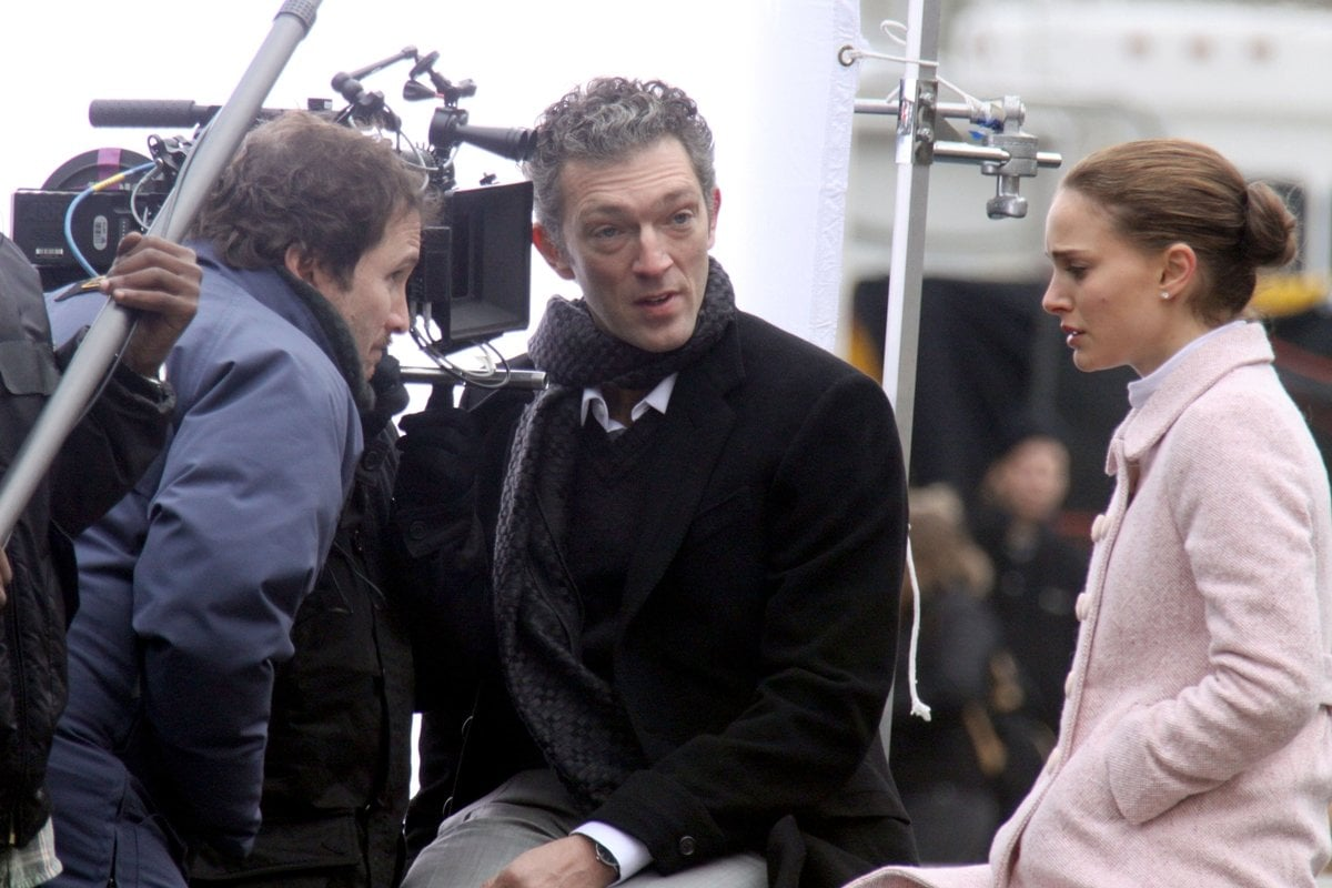 Director Darren Aronofsky, Vincent Cassel, and Natalie Portman on the set of the Black Swan in New York City